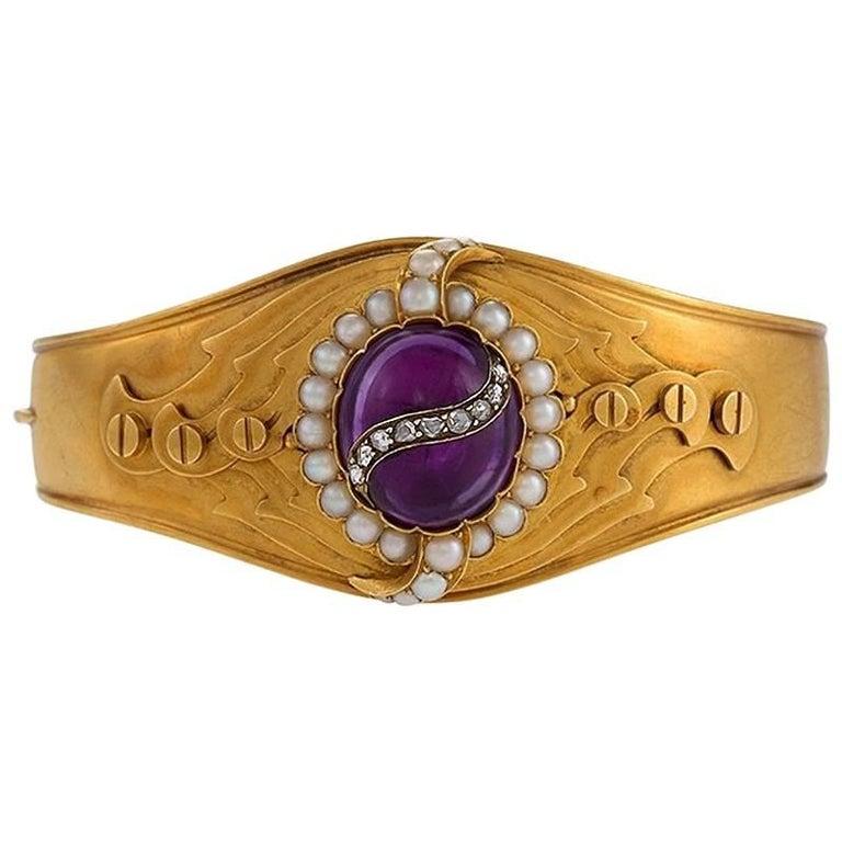 English Victorian Amethyst Pearl and Diamond Cuff Bracelet 1