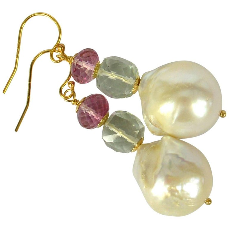 Decadent Jewels Baroque Pearl Green Amethyst Pink Topaz Gold Earrings