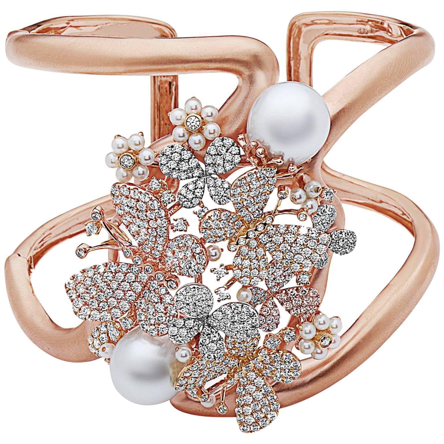 Emilio Jewelry Wide Butterfly Pearl Diamond Cuff Set in 18 Karat Rose Gold