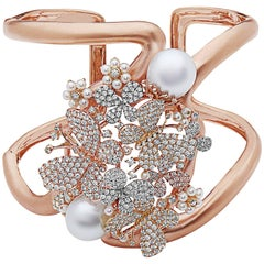 Wide Butterfly Pearl Diamond Cuff Set in 18 Karat Rose Gold