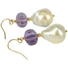Decadent Jewels Carved Amethyst Baroque Pearl Gold Earrings