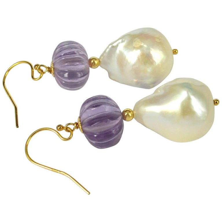 Decadent Jewels Carved Amethyst Baroque Pearl Gold Earrings For Sale