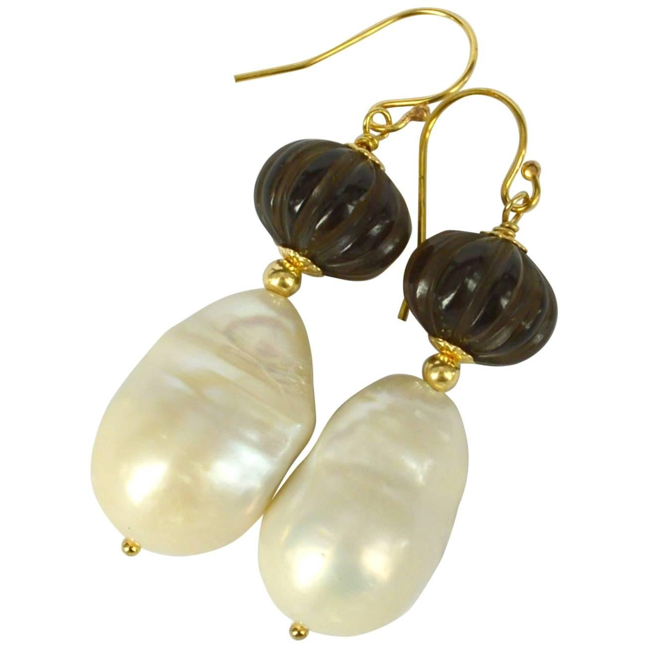Decadent Jewels Carved Smokey Quartz Baroque Pearl Gold Earrings