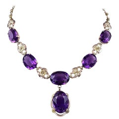 Art Nouveau Amethyst and Gold Drop Necklace
