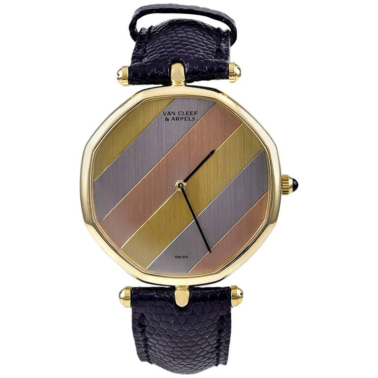 Van Cleef & Arpels Tricolor Gold Octagonal Quartz Wristwatch