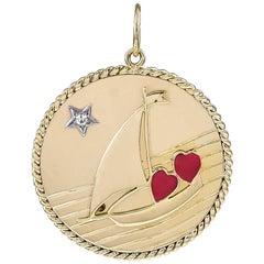 Superb Large Sailboat C'est La Vie Gold Charm