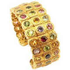 3-Row Multicolor Semi Precious Gemstone Hammered 18K Gold Open Bangle Cuff