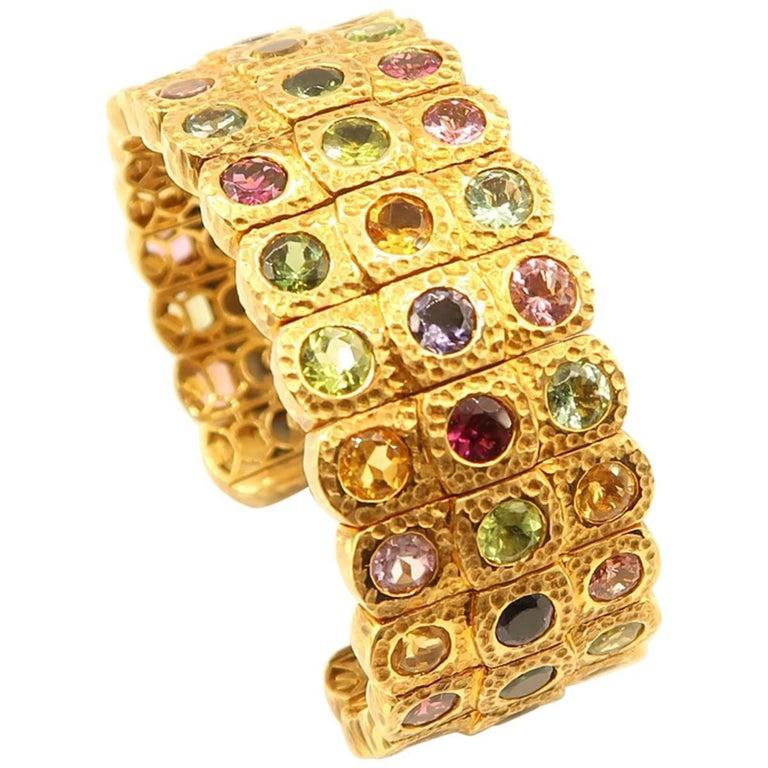 Multicolored Semi Precious Gemstone Hammered Yellow Gold Bangle Cuff