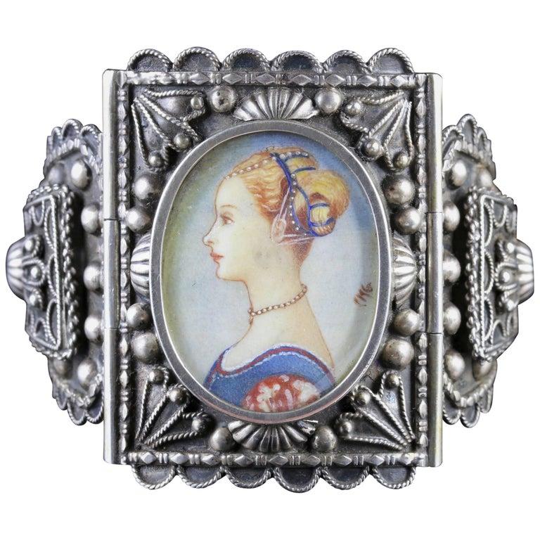 Antique Victorian Venetian Silver Portrait Bracelet, circa 1860