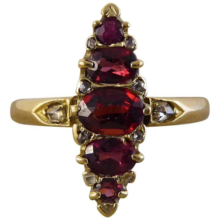 Diamond and Garnet Vintage Marquise Ring in 18 Carat Gold