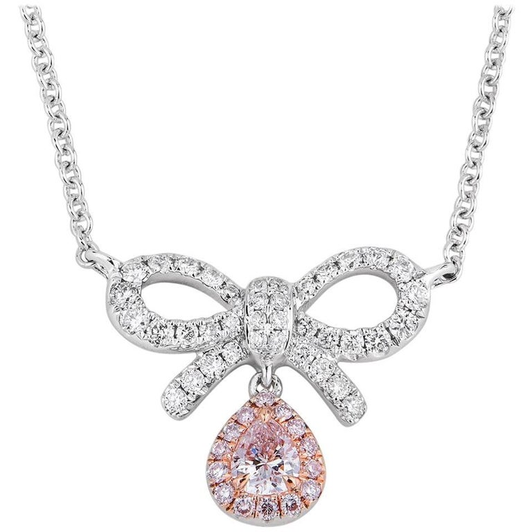 White Gold Bow Necklace with Fancy Pink Diamond