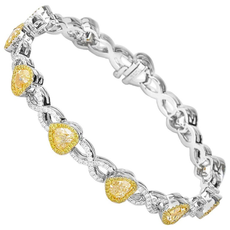 White Gold Fancy Yellow Diamond Heart Bracelet