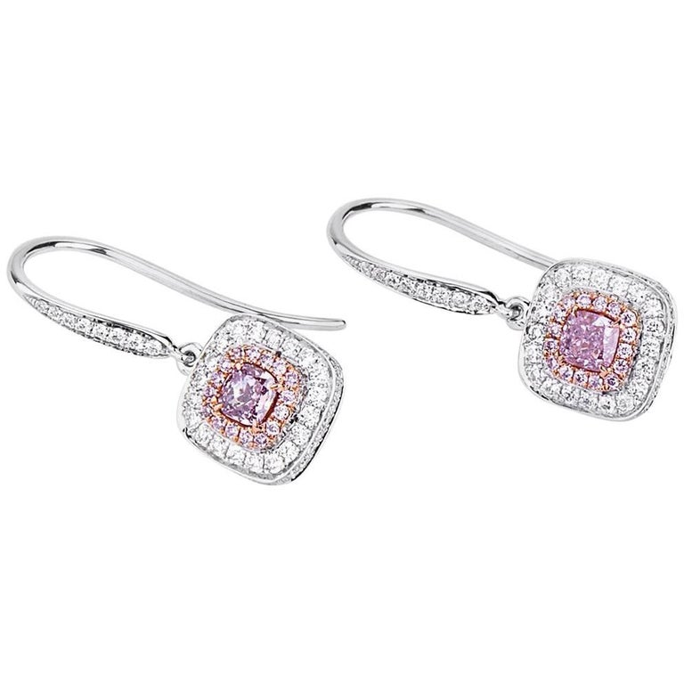 GIA White Gold Fancy Pink Diamond Earrings