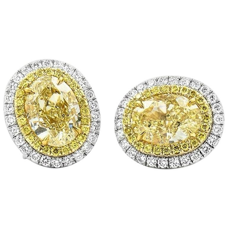 Gia Oval Fancy Yellow Diamond Earrings For