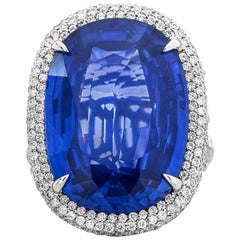 GRS Natural Sri-Lanka Sapphire and Diamond Ring