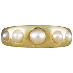Pearl Five-Stone Antique Victorian Ring in 18 Carat Gold