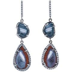 Karolin Rose Gold White Diamond Agate Diamond Drop Earrings
