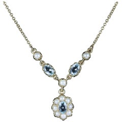 Antique Edwardian Aquamarine Pearl Necklace, circa 1915