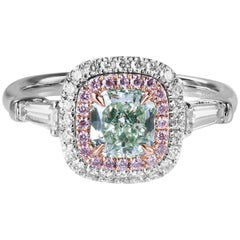 GIA New Fancy Yellow Green and Pink Diamond Ring