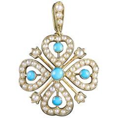 Antique Victorian Turquoise Pearl Pendant 18 Carat Gold