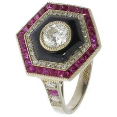 Ruby and Diamond Ladies Gold Ring