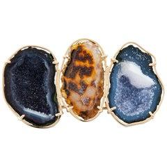 Karolin Brooch Agate Geode 18 Karat Rose Gold