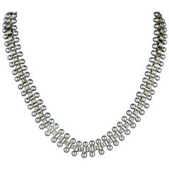 Antique Victorian Sterling Silver Collar Necklace, circa 1880