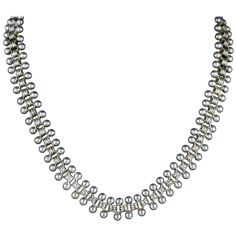 Antique Victorian Sterling Silver Collar Necklace, circa 1880 For Sale