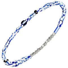 Vintage Blue Mixed Beaded Bracelet with White Gold by Allison Bryan