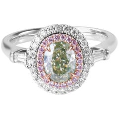 GIA Fancy Grey-Greenish Yellow Diamond Ring