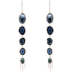 Karolin Rose Gold White Diamond Agate Geode Pavé Hook Drop Earrings