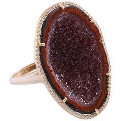 Karolin Rose Gold White Diamond Agate Geode Cocktail Ring