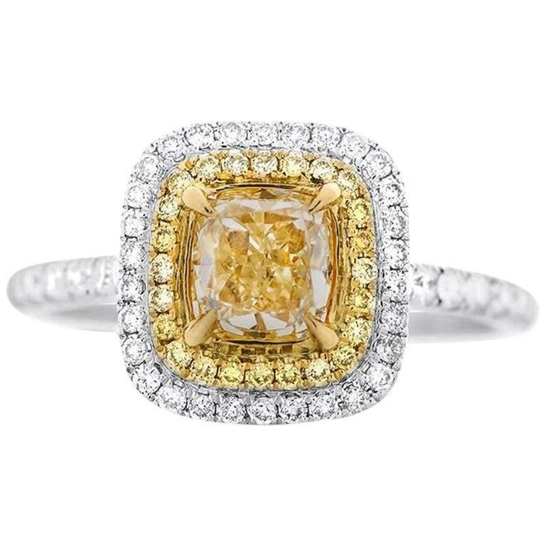 GIA Cushion Cut Fancy Yellow Diamond Ring