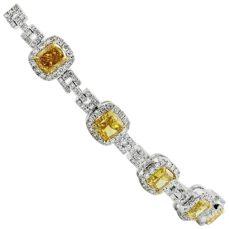 GIA Fancy Yellow Diamond Bracelet