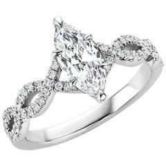 Marquise Diamond Engagement Ring in Platinum, 0.86 Carat GIA