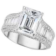 GIA Certified 3.55 Carat Emerald Cut Diamond Platinum Ring