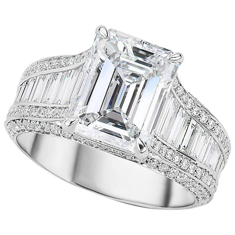 GIA Certified 3.55 Carat Emerald Cut Diamond Platinum Engagement Ring