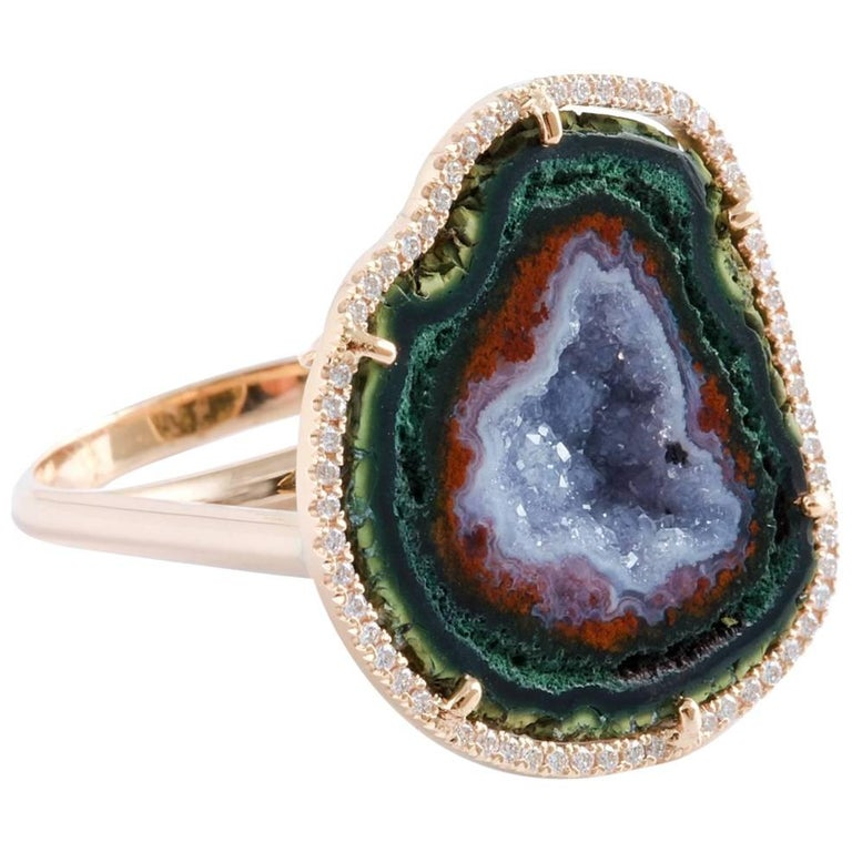 Karolin Rose Gold White Diamond Agate Geode Cocktail Ring