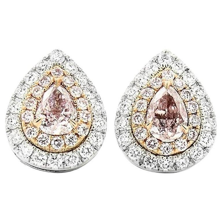 Fancy Pink Diamond with White Diamonds Stud Earrings