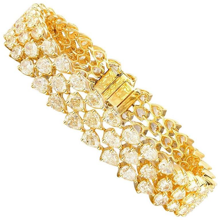 Pear Cut Fancy Yellow Diamond Bracelet