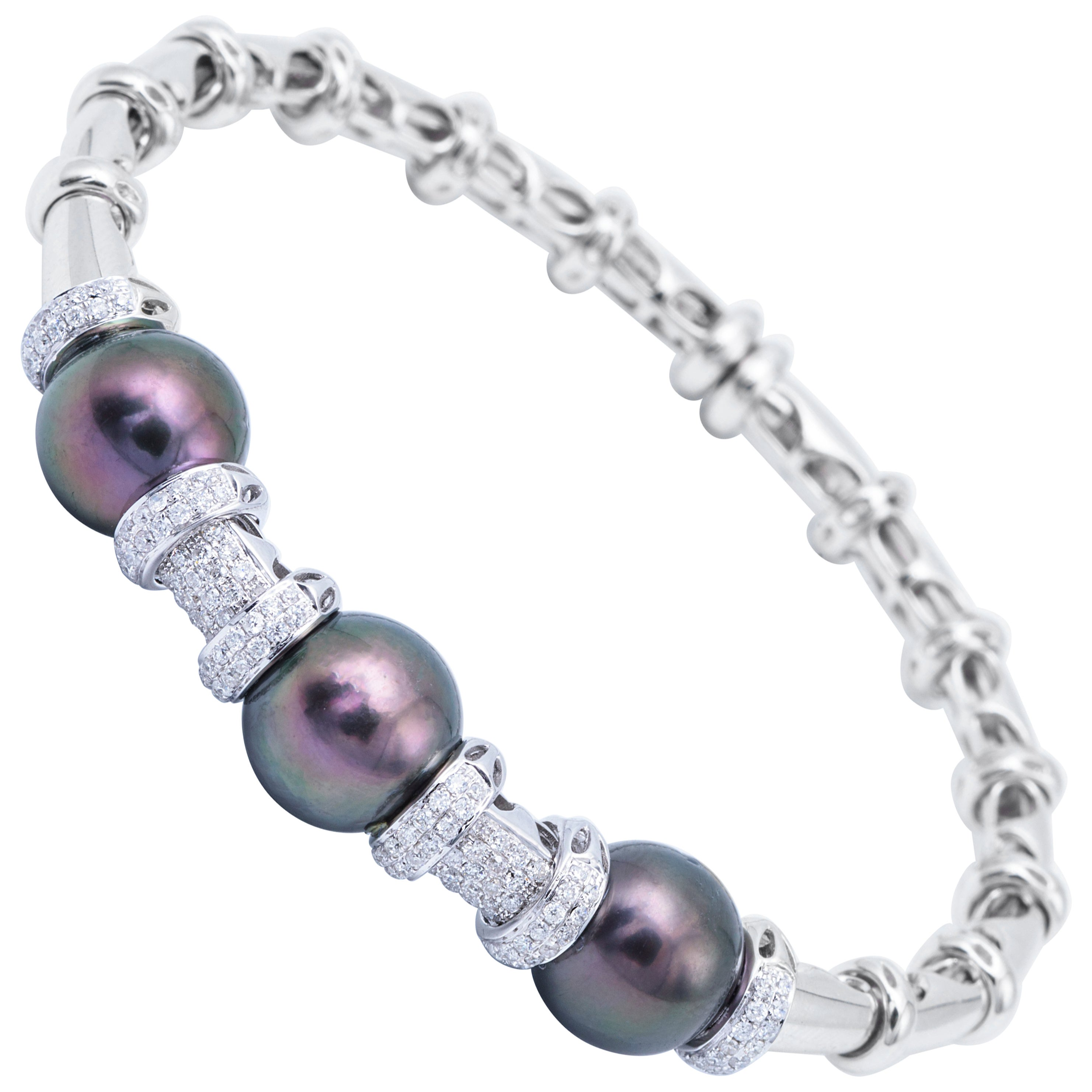 White Gold Cultured Pearl Tahitian Bangle with Diamond Accent