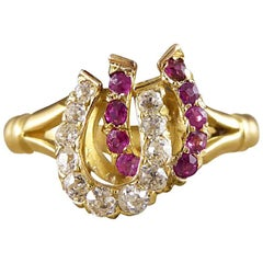 Antique Edwardian Ruby and Diamond Double Horseshoe Ring in 18 Carat Gold