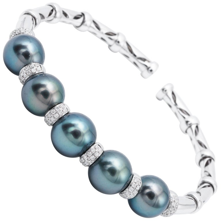 Cultured Tahitian Pearls and Diamond White Gold Bangle For Sale