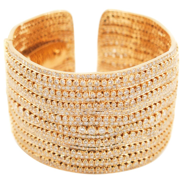 Diamond Yellow Gold Cuff Bracelet For Sale