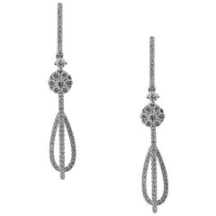 White Gold Drop Diamond Earrings