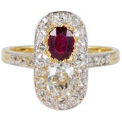 Edwardian Burma No Heat Ruby 2.10 Carat Diamond Ring