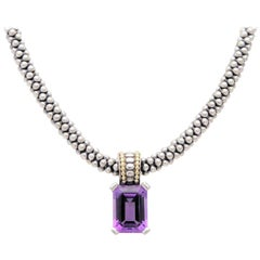 Lagos Caviar Sterling and 18k Gold Necklace with 15ct Emerald Cut Amethyst