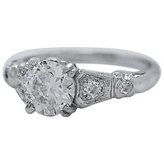 Antique 1.04 Carat Diamond Platinum Engagement Ring
