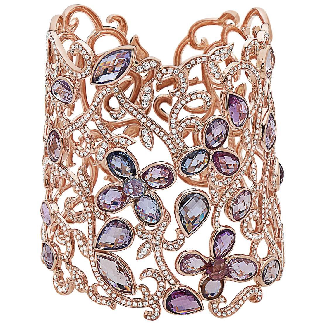 Emilio Jewelry 48.51 Carat Unique Fancy Diamond Bangle
