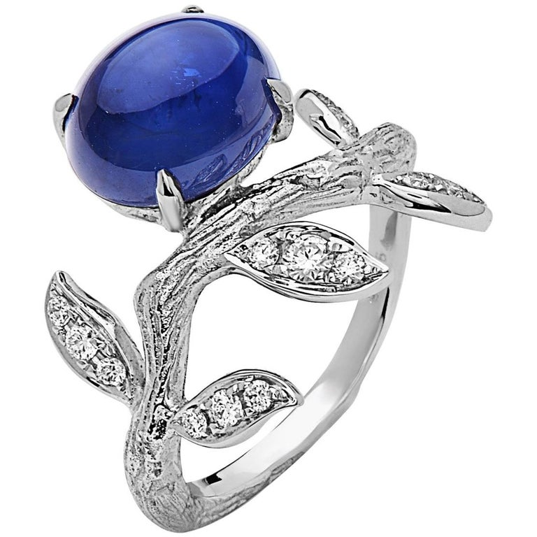 Emilio Jewelry Cabochon Sapphire Diamond Ring For Sale